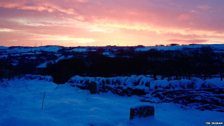 Sunrise at Holywell Green, Calderdale