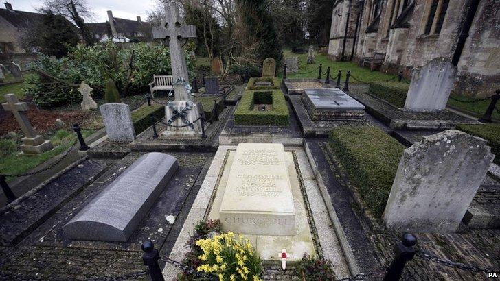 Winston Churchill's grave in Bladon