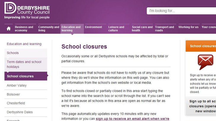 School closures page