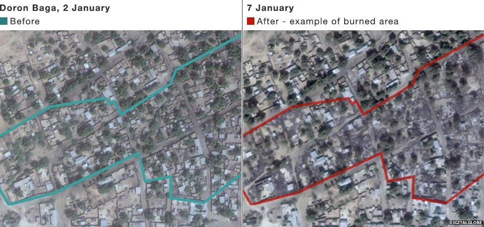 Satellite images show some of damage left by Boko Haram attack