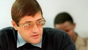 Eugene De Kock at a Truth and Reconciliation Commision session on 24 May 1999 in Pretoria, South Africa