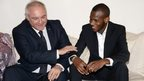 France's ambassador to Mali, Gilles Huberson, and Lassana Bathily