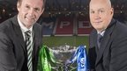 Celtic manager Ronny Deila (left) and Rangers manager Kenny McDowall with the Scottish League Cup trophy