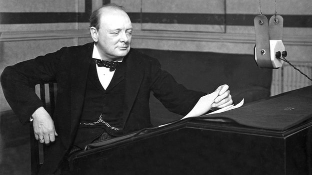 Winston Churchill doing a radio interview in 1928