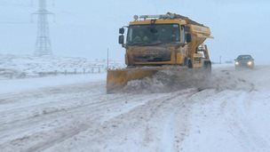 Snow plough on A66 in Cumbria