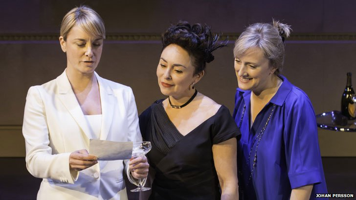 Tamzin Outhwaite, Samantha Spiro and Jenna Russell in Di and Viv and Rose