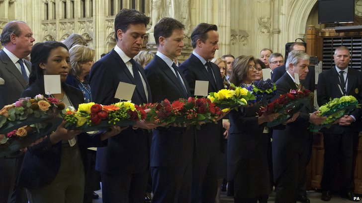 Leaders of UK political parties with wreaths at Houses of Parliament