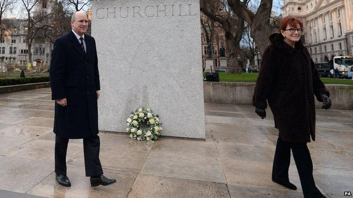 Winston Churchill's granddaughter and great grandson lay at wreath