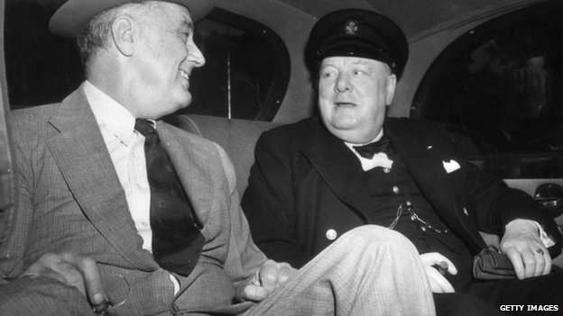 Winston Churchill with US President Franklin Roosevelt in 1943