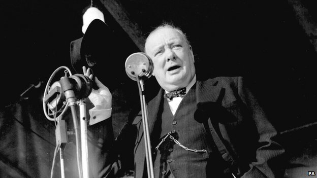 Winston Churchill giving a speech in Walthamstow in 1945