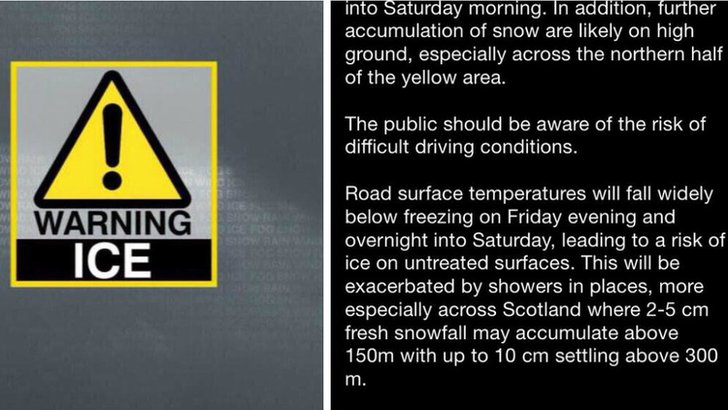 Saturday 31 January ice warning