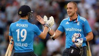 England's Chris Woakes and Stuart Broad
