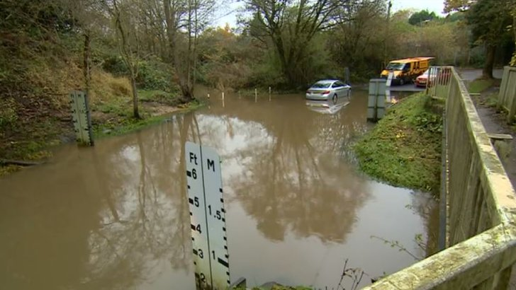 A flooded Houndsfield Lane in Shirley