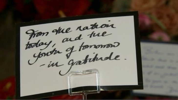 Message on wreath reading: 'From the nation of today, and the youth of tomorrow - in gratitude'