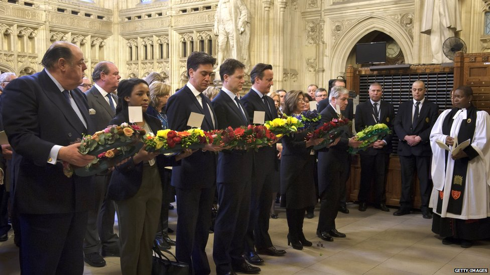 Wreath laying in Westminster Hall