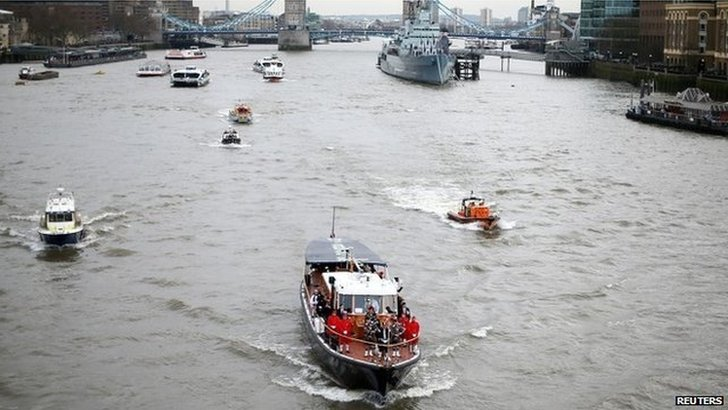 The Havengore - which carried Winston Churchill's coffin, returns to the the Thames