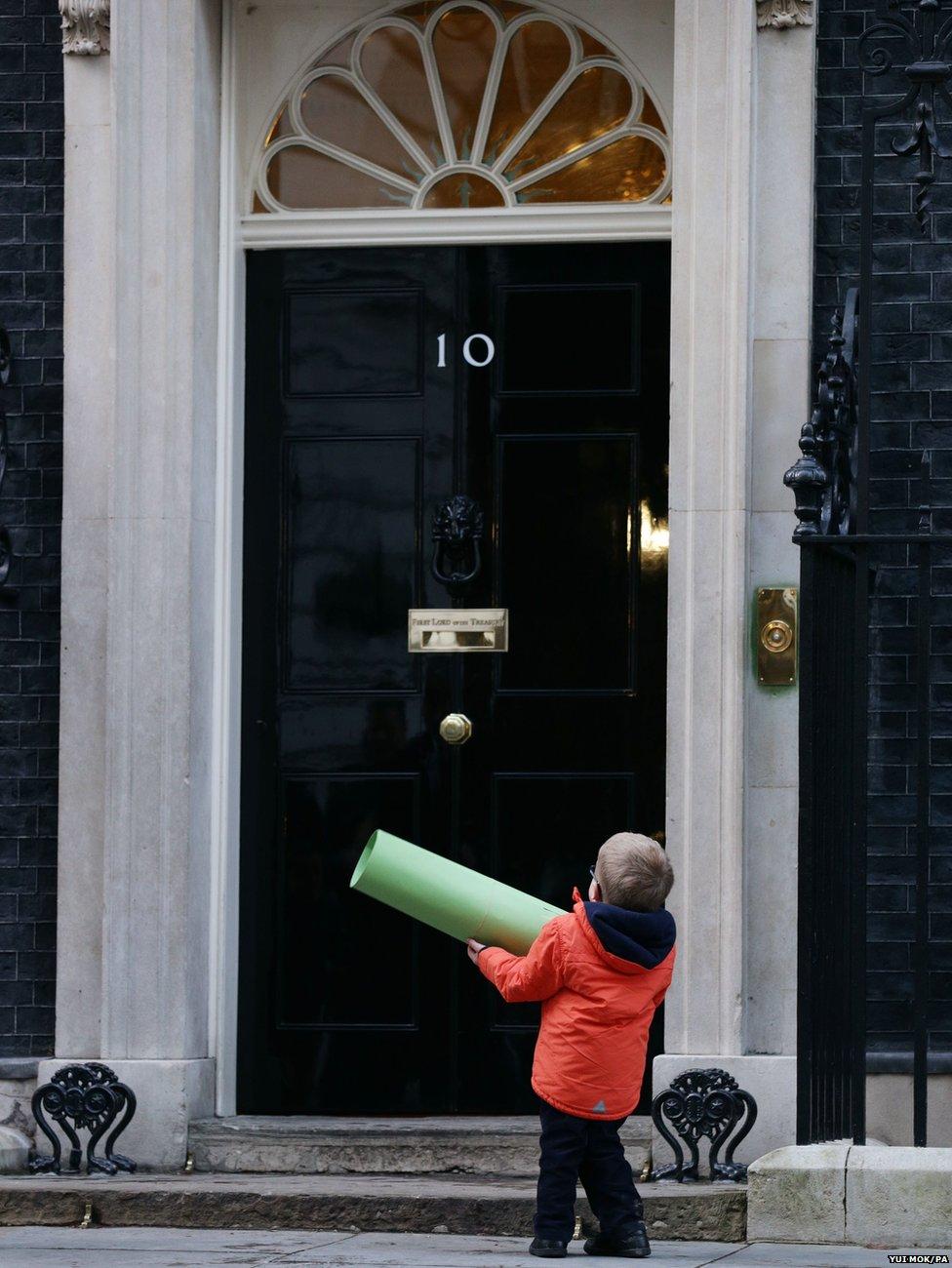 Six year-old Sam Brown at 10 Downing Street