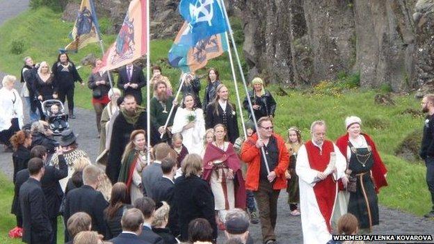 Asatru procession, Iceland