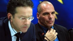 Eurogroup chief Jeroen Dijsselbloem (left) and Greek Finance Minister Yanis Varoufakis speak during a press conference following a meeting in Athens, Greece, 30 January 2015
