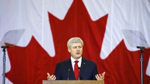 Canadian Prime Minister Stephen Harper speaks at a news conference in Richmond Hill, Ontario January 30, 2015