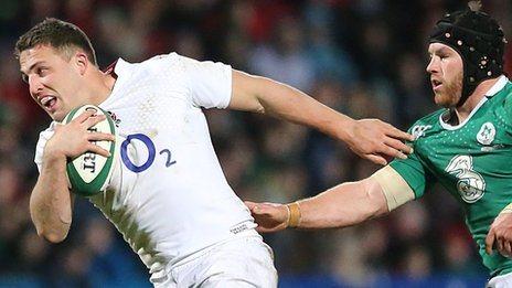 "Sam Burgess of England Saxons gets away from Ireland's Sean O""Brien"