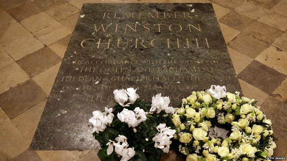 Sir Winston Churchill's memorial stone at Westminster Abbey