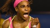 Serena Williams celebrates winning the Australian Open