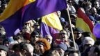 Podemos supporters attend the 'March for Change' in Madrid