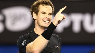 Andy Murray celebrates reaching the Australian Open final