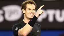 Andy Murray celebrates reaching the Australian Open final