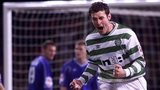 Chris Sutton celebrates scoring against Rangers