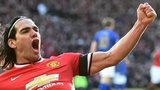 Manchester United striker Radamel Falcao celebrates after putting his side 2-0 ahead