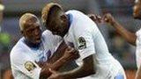 DR Congo celebrate scoring against Congo