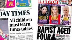 Sunday Times and Sunday Mirror front pages