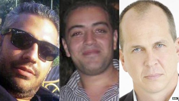 Mohamed Fahmy, Baher Mohamed and Peter Greste, file