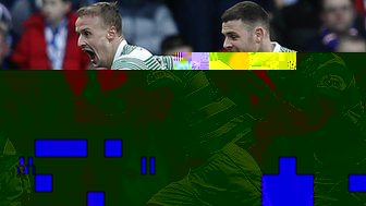 Leigh Griffiths celebrates is goal with Celtic team-mate Anthony Stokes