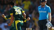 England's Eoin Morgan after being dismissed by Australia bowler Mitchell Johnson