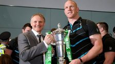 Joe Schmidt and Paul O'Connell with the Six Nations trophy which Ireland won last year