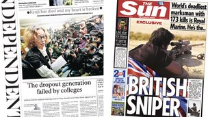 Independent and Sun front pages