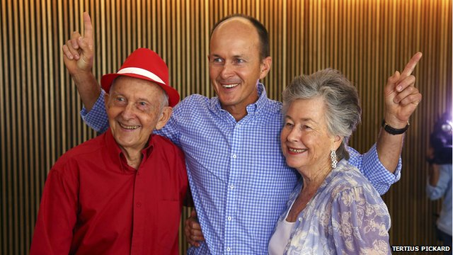 The father, brother and mother of journalist Peter Greste celebrate his release at a news conference in Brisbane