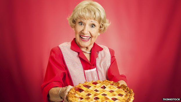 Granny holding a pie