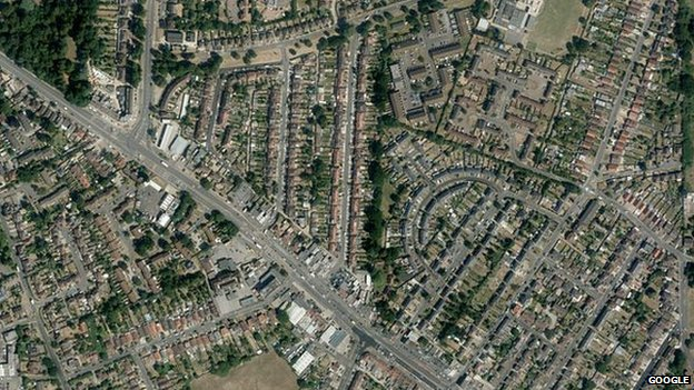 View of Hillingdon from satellite