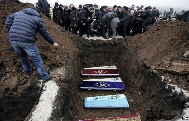 Funerals for victims of Mariupol shelling (27 Jan)
