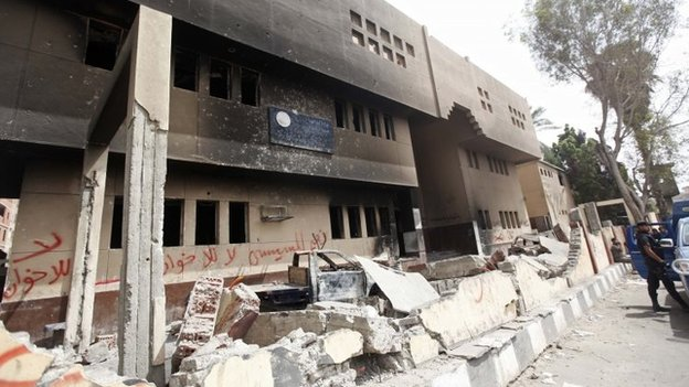 Supporters of former Egyptian president Mohamed Morsi burned a police station in Kerdasa,