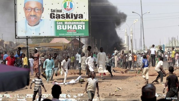 People protest against the increased violence ahead of a visit by Nigerian President Goodluck Jonathan to the state, after an suicide bomb explosion in Gombe, 1 February 2015