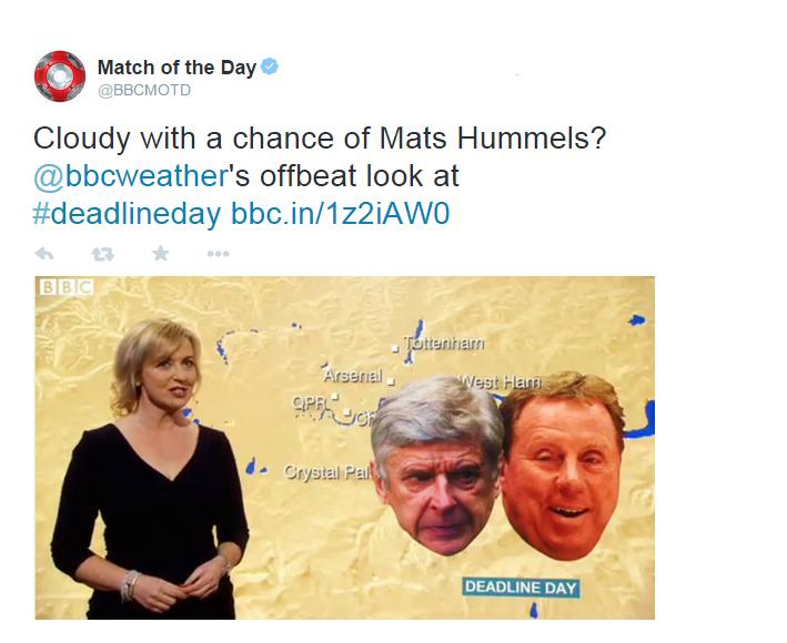 BBC Weather transfer deadline day