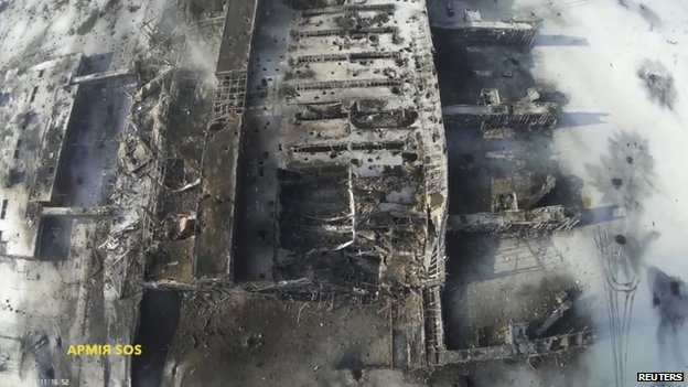 Army.SOS handout image of damage to Donetsk airport (17 Jan)