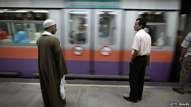Commuters on the Cairo metro