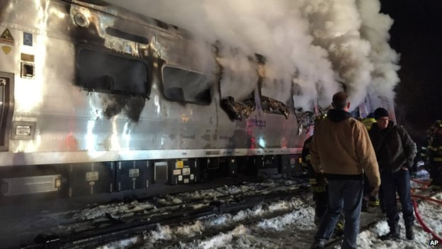 A Metro-North train smoulders after hitting a vehicle in Valhalla. Photo: 3 February 2015