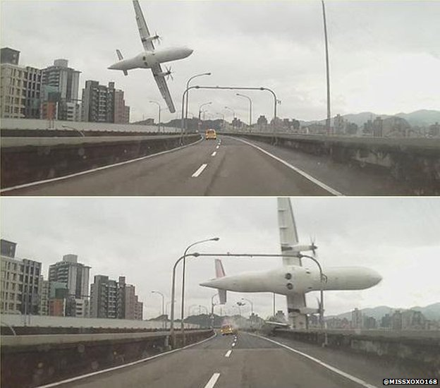 80771317 plane - Taiwan  Trans  Asia Plane  Crashes Into  River
